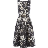 Eliza J Printed sleeveless fit and flare dress, Black