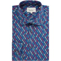 Men's Ted Baker Multi Coloured Diamond Print Shirt, Blue