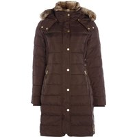 Joules Feather and Down Coat with Faux Fur Trim Hood, Dark Brown