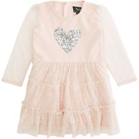 Bardot Baby Baby Girls Sequin Heart Long Sleeve Dress, Pink - Seek Gifts