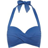 Seafolly Twist soft cup halterneck bikini top, French Blue
