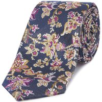 Ted Baker Thistle Floral Jacquard Tie, Blue