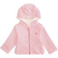 Joules Baby Stripe Zip Through Hooded Sweat, Pink