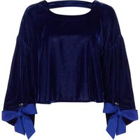 Free People Gimme Some Lovin` Open Back Top With Tie Cuff, Blue