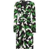 ISSA Kate tie printed wrap dress, Green