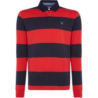 Men's GANT Striped Long-Sleeve Rugby Shirt, Bright Red