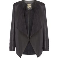Biba Waterfall pu eyelet detail jacket, Black