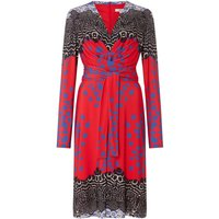 ISSA Kate tie printed wrap dress, Red Multi