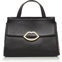 Lulu Guinness Gertie small grainy leather tote, Black