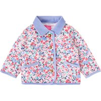 Joules Baby Girls Long Sleeve Ditsy Floral Quilted Coat, Pink
