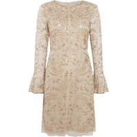 Adrianna Papell Long sleeve V neck beaded shift dress, Champagne