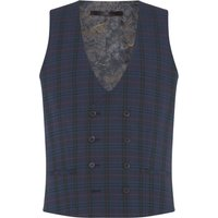 Men's Label Lab Baskin Skinny Fit Tropical Check Suit Waistcoat, Blue