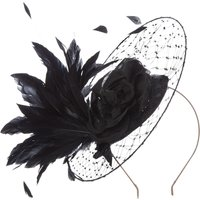 Vixen Millinery Floral and feather netted hat on band, Black