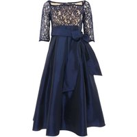 Eliza J High low lace top dress with 34 sleeve, Blue