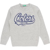 Benetton Boys Logo Crew Neck Sweatshirt, Grey Marl