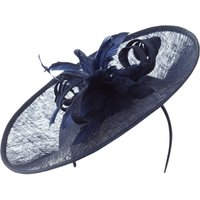 Suzanne Bettley Feather flowers and curl sinamay hat on band, Blue