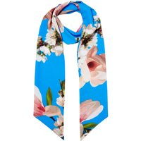 Ted Baker Daphne harmony skinny floral scarf, Bright Blue