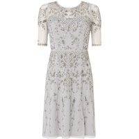 Adrianna Papell 34 Sleeve Embellished Shift Dress, Silver
