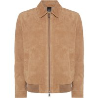 Mens Hugo Boss Avelan-WS suede jacket, Camel