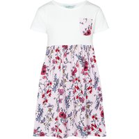 Little Dickins & Jones Girls Jersey Dress with Floral Skirt and Pocket, White