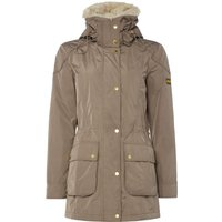 Barbour Waterproof Garrison Coat With Faux Fur Collar, Taupe
