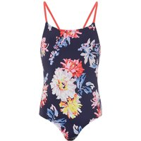 Joules Girls Floral One Piece Swimsuit, Blue