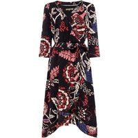 Biba Printed jacquard wrap dress, Multi-Coloured