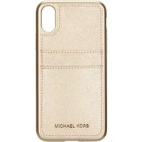 Michael Kors Electronic leather phone cover with pocket, Light Gold - Electronic Gifts