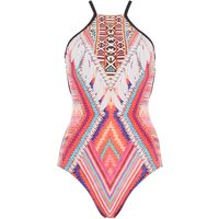 Seafolly Desert tribe DD high neck maillot, Red