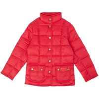 Barbour Girls Padded Popper Front Jacket, Raspberry