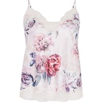 Lipsy Floral PJ cami with lace, Pink
