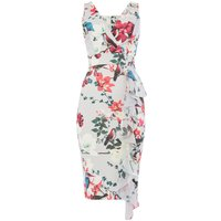 Wal-G V neck printed ruffle midi dress, Multi-Coloured