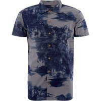 Men's Jack & Jones Printed Hawaiian Shirt, Blue - Hawaiian Gifts