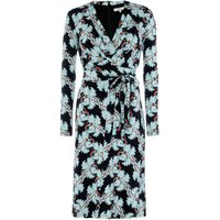 ISSA Crest print kate tie wrap dress, Multi-Coloured