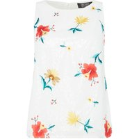 Girls on Film Short Sleeve Floral Print Top, White