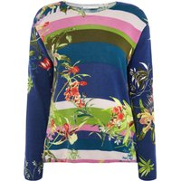 Oui Stripe and floral jumper, Multi-Coloured