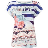 Oui Stripe and floral print tee, Multi-Coloured - Floral Gifts