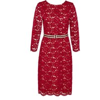 Hallhuber Midi lace dress with belt, Red