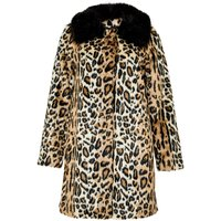Hallhuber Leopard Print Crop Coat Made Of Faux Fur, Multi-Coloured