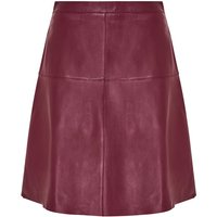 Hallhuber A-Line Skirt Made Of Nappa Leather, Purple