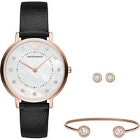 Emporio Armani Bracelet Watch And Jewellery Gift Set, Black