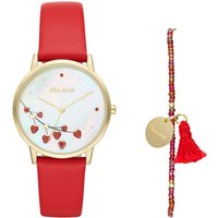 Mon Amie Food Red Leather Watch, Red