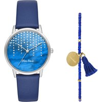 Mon Amie Water Navy Leather Watch, Blue