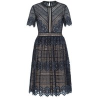 Hallhuber Lace Dress With Contrast Lining, Indigo