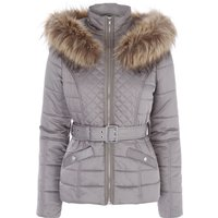 Jane Norman Mink Faux Fur Trim Padded Coat, White