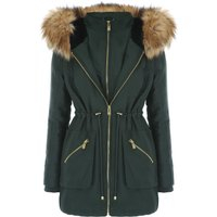 Jane Norman Double Zip Faux Fur Hood Parka Coat, Khaki