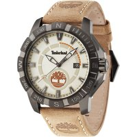 timberland gents harling beige  strap watch, white