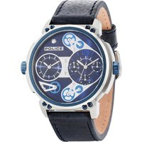 police gents blue leather strap watch, blue