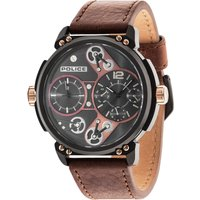 police gents brown leather strap watch, brown