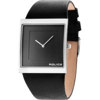 police gents black leather strap watch, black